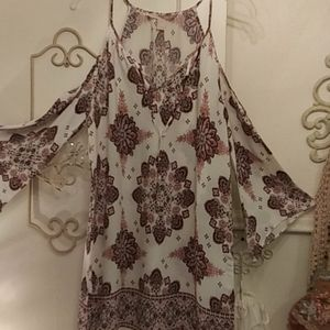 Forever 21 Boho Print Cold  Shoulder Tunic